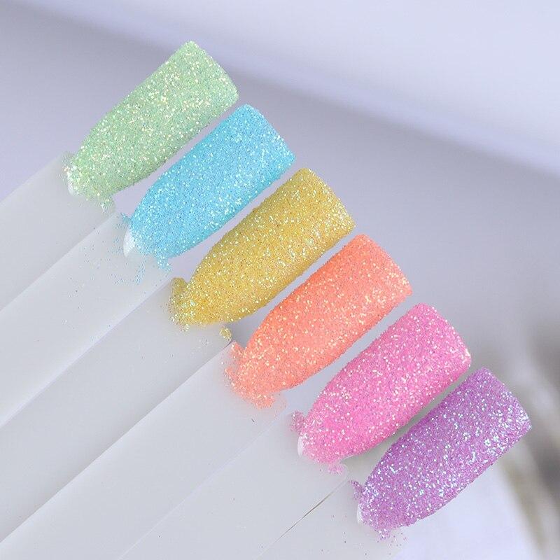 6Pcs Candy Color Nail Glitter Set Colorful Summer Rainbow Sandy Powder Nail Art Dust Pigment Nail Art Decorations Nail Dipping