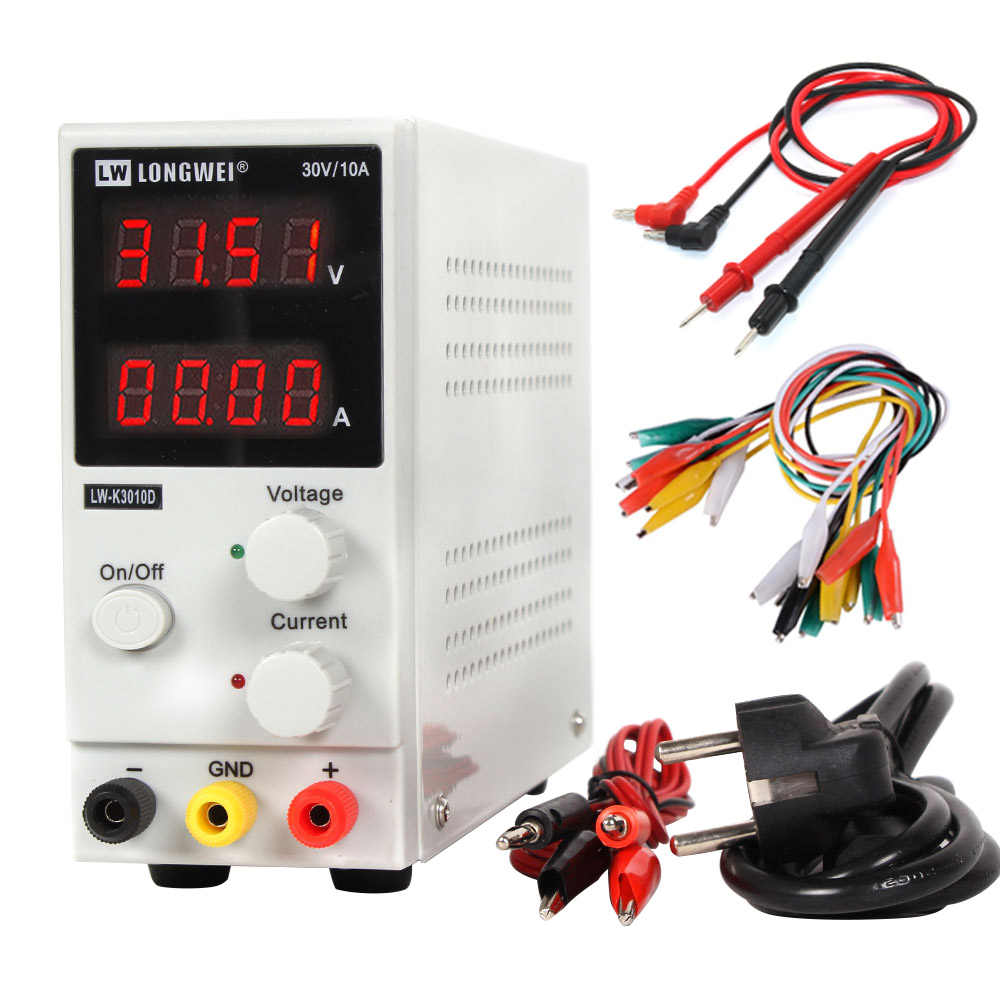 LW 3010D Laboratory Adjustable DC Power Supply 30V 10A 4 digit Display Adjustable Switching  Power Supply laptop Phone Repair-in Voltage Regulators/Stabilizers from Home Improvement