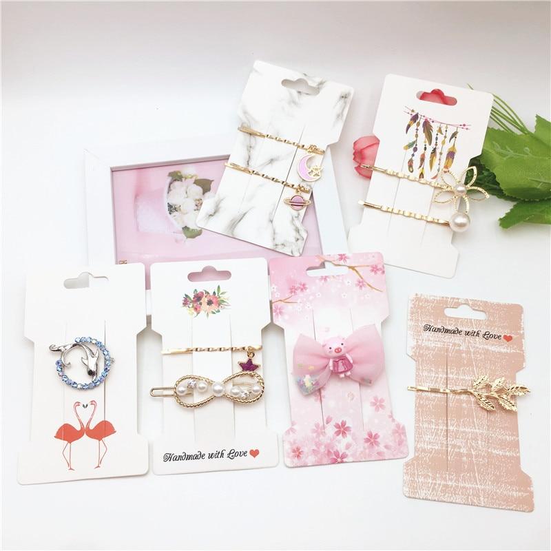 2019 NEW Arrival 50Pcs Hand Made With Love White Brown Card Hair Pin/Hair Band Card Girl Hair Clip Display Card 11.5x6.6cm