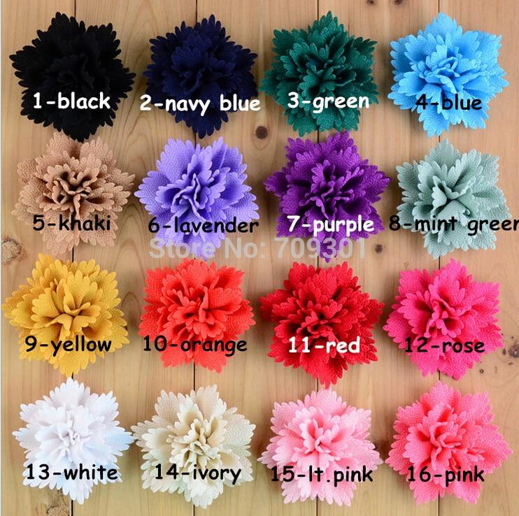 50 pcs 16 Color Newborn Baby Girls Headband Hair Chiffon Flower Accessories Lot