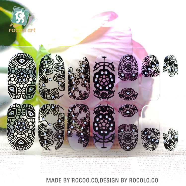Rocooart Y5408 Transparent Black Full Lace Adhesive Nail