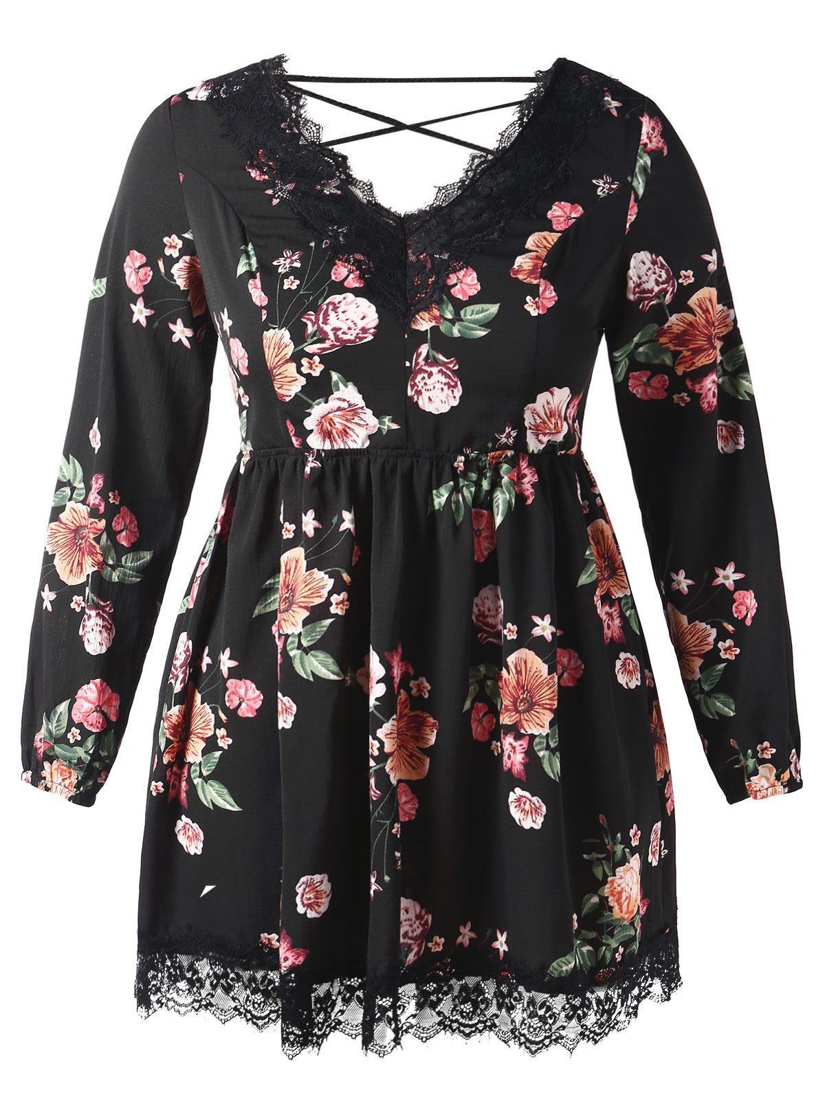63bd613ecbdd0 US $12.95 52% OFF|Wipalo Plus Size Lace Up Floral Print Mini Dress Casual V  Neck A Line Lace Trim Dress Oversized Women Fall Clothes 5XL Vestidos-in ...