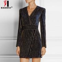Women New Arrivals Hot Diamond Deep V Neck Long Sleeve Above Knee Mini Dress Lady Casual