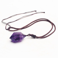 100% Natural Amethysts Quartz Crystal Point Pendant Original Stone Specimens Necklace purple crystal Jewelry