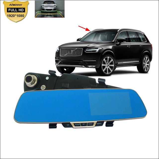 For volvo xc60 xc90 s40 s60 s80 v40 v70 v60 Car DVR Blue Screen Rearview Mirror Video Recorder Dual Camera 5 inch car dash DVR