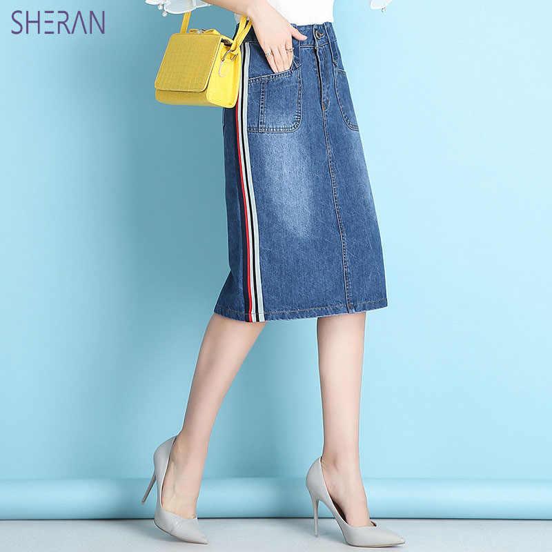 SHERAN 2018 Women Summer Denim Skirts Fashion High Waist Plus Size Bag Hip Jeans Skirt High Quality Blue Sexy Skirts Bottoms