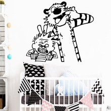 лучшая цена Fun calvin and hobbes dancing Wall Stickers Modern Interior Art Wall Decoration For Baby's Rooms Decoration Accessories Murals