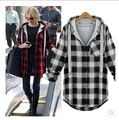 2016 Women's Spring New Models Jacket Plus Fertilizer To Increase Fat Mm Loose Casual Plaid Shirt Female Free Shipping