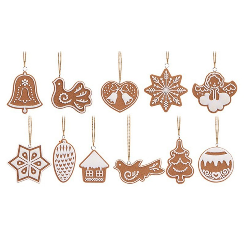 11Pcs/Set Christmas Ornaments Deer Snowman Tree Ornaments Pendant New Year Decor Party 2 Style ...