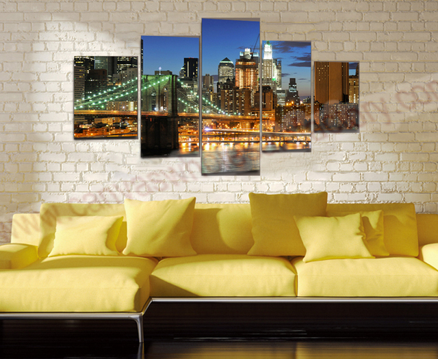 Large Paintings For Living Room Part - 47: Modern Canvas Wall Art Painting Ideas Of Bridge 3D Wall Pictures For Living  Room Large Canvas