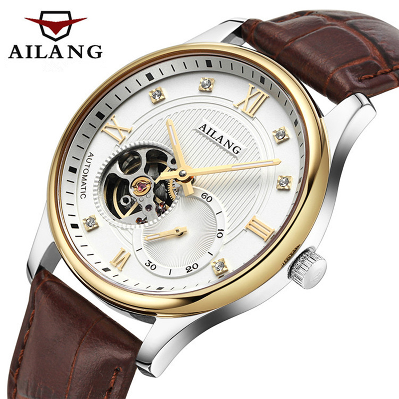 Famous Luxury brand Men Tourbillon watch Business Rhinestones Gold Leather belt Wrist watch Men Automatic Mechanical Watch