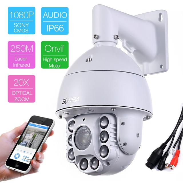 805-D20XB 1080PHD 4.7 ~ 94mm de Áudio P2P 2.0MP PTZ de Alta Velocidade 20 Zoom óptico de Segurança IRCut Night Vision P2P IP Câmera Dome ONVIF