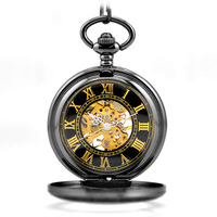 WOONUN Antique Skeleton Gold Roman Numerals Dial Black Alloy Case Mechanical Hand Wind Long Fob Chain Clock Men Pocket Watch