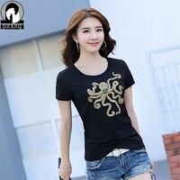 Brand Fashion Women S Summer Octopus Diamond T Shirt Clothes Shirt O Neck Kawaii T Shirt