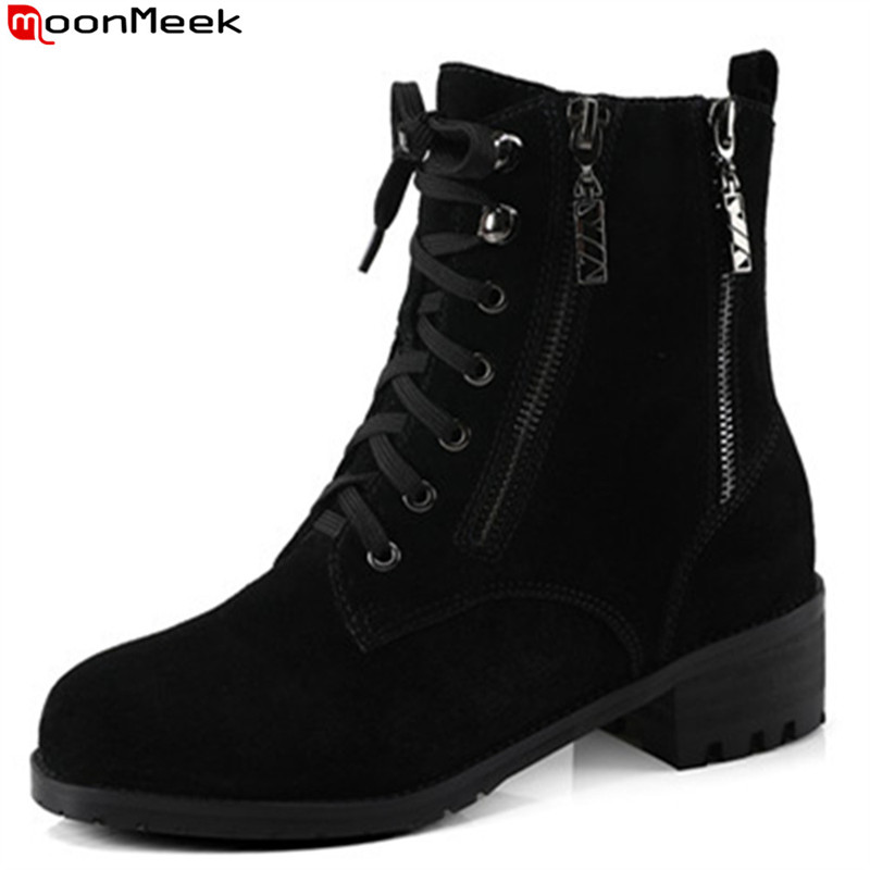 MoonMeek black autumn winter women boots round toe zipper lace up cow suede boots med heel ankle boots big size 34-44 1 set front fog lights with racing grills
