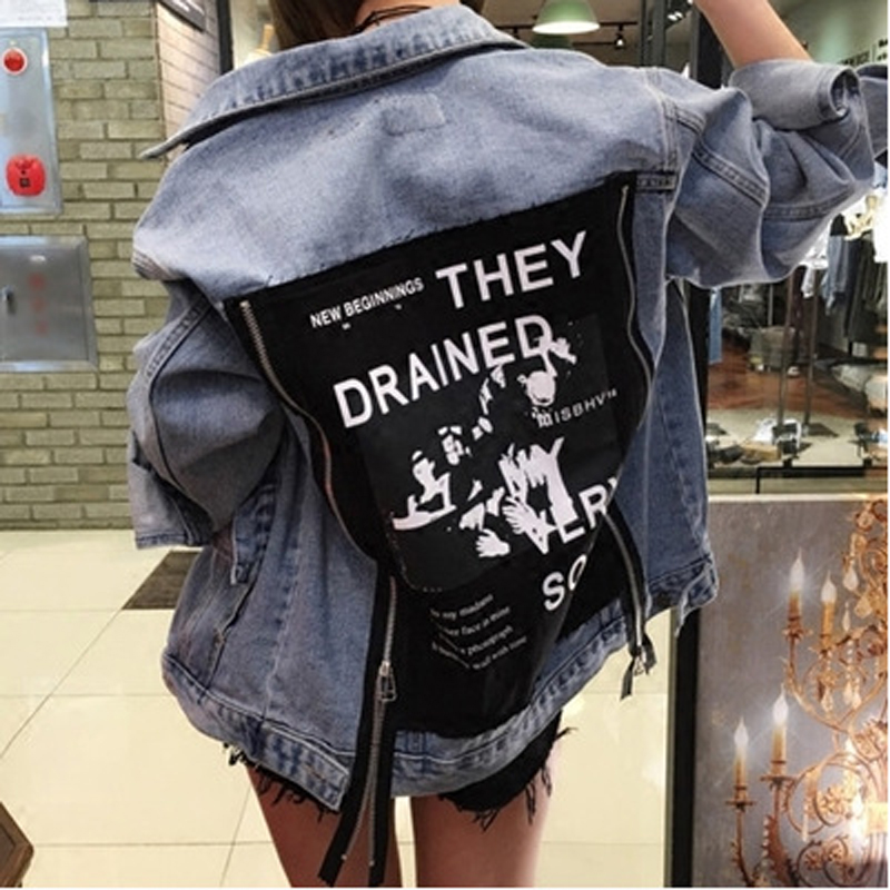 2017 Spring Brand Woman Loose Denim Jackets Printting Ladies Plus Size Jean Coat Zipper Outerwear Coat casaco feminino M51