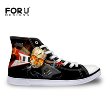 FORUDESIGNS Casual Men Shoes Cool Punk Skull Printed Lace-Up High Top Canvas Shoes For Man Male Comfort Leisure Flats Breathable