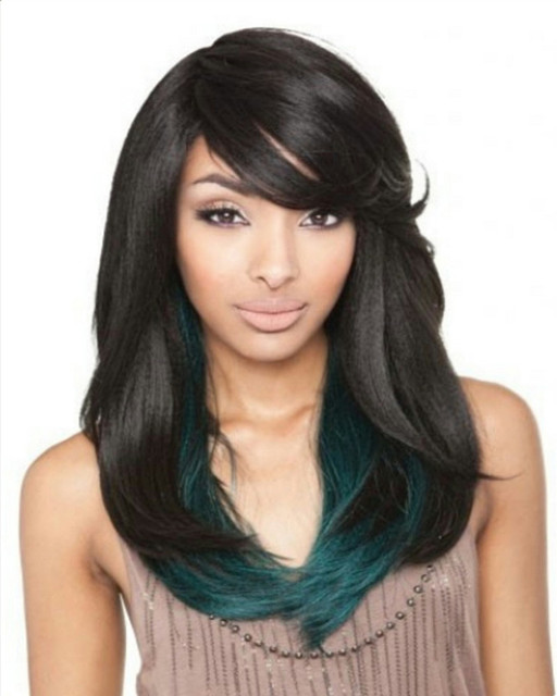 Long Straight Blue Black Synthetic Wig For Women Peluca Peruca Sexy