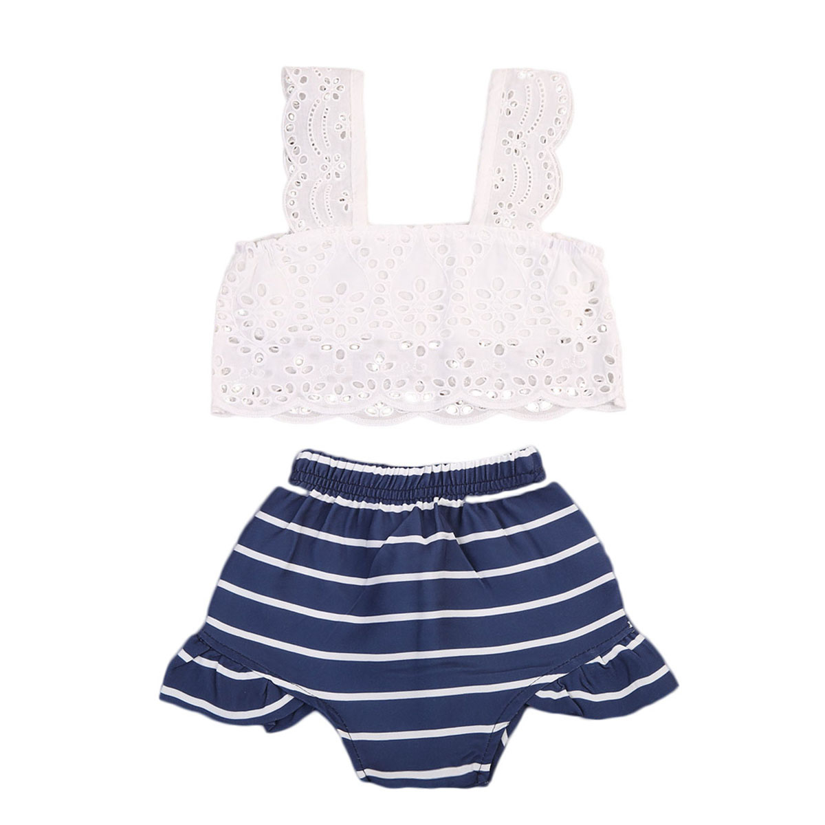 Toddler Kids Baby Girls Outfits Clothes Sets Hollow T-shirt Tops Vest Shorts Striped Clothing Baby Girl 2PCS Summer