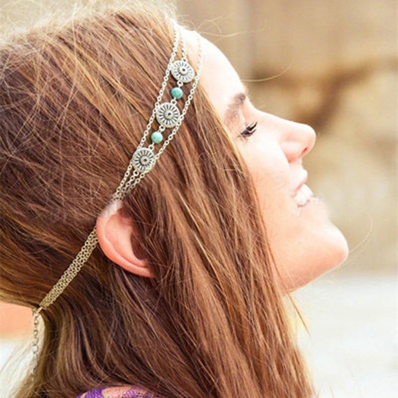 Fashion Bohemian Antique Silver Color Metal Head Chain Blue Resin Wedding Hair Jewelry Accessories bijoux de tete Femme 0411