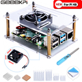 Акриловый прозрачный корпус GeeekPi с охлаждающим вентилятором Raspberry Pi 4 Модель B для Raspberry Pi 4B/3B +/3B