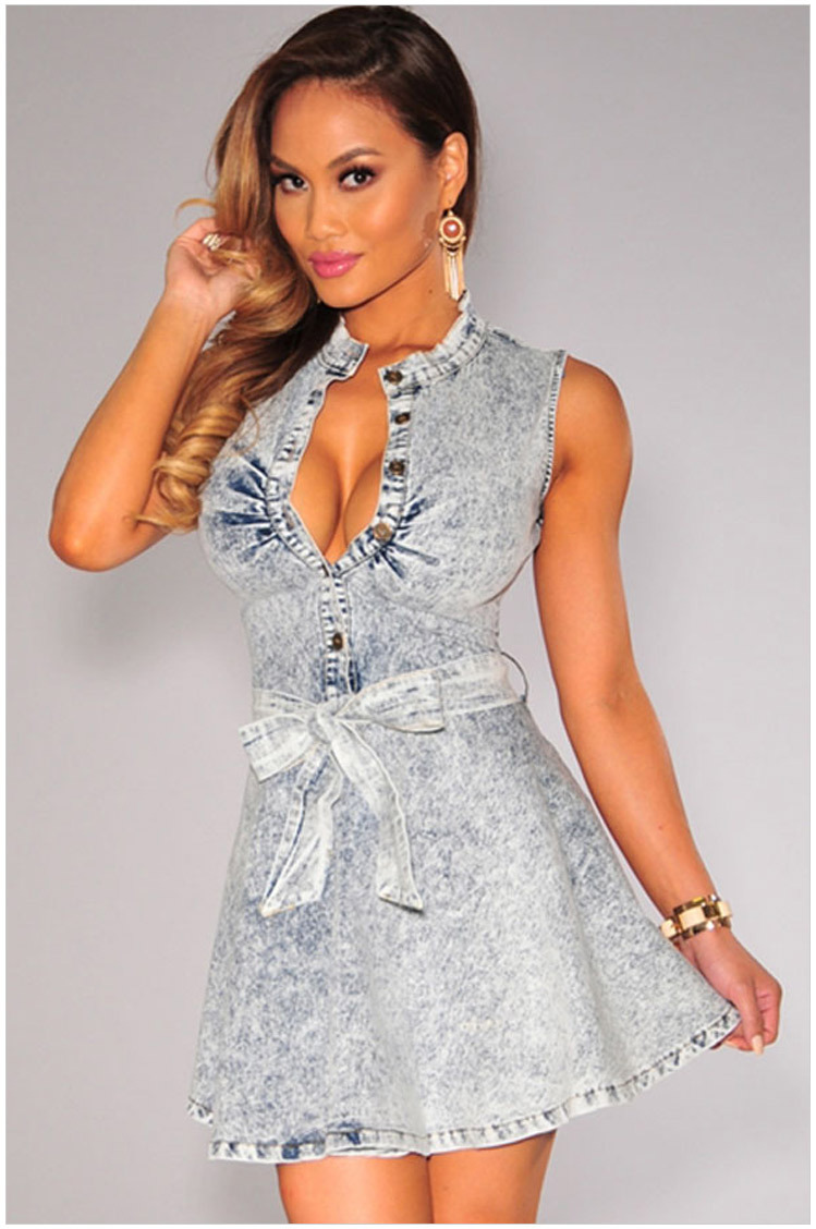 womens denim dress 2015 sexy high waisted denim blue jean dresses ...