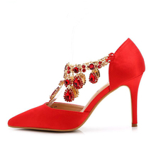 2018 Sexy Women Pumps Shoes Spring Red Black Silver Pointed High-heeled Female High Heels Wedding Shoes Plus Size 43 XP15
