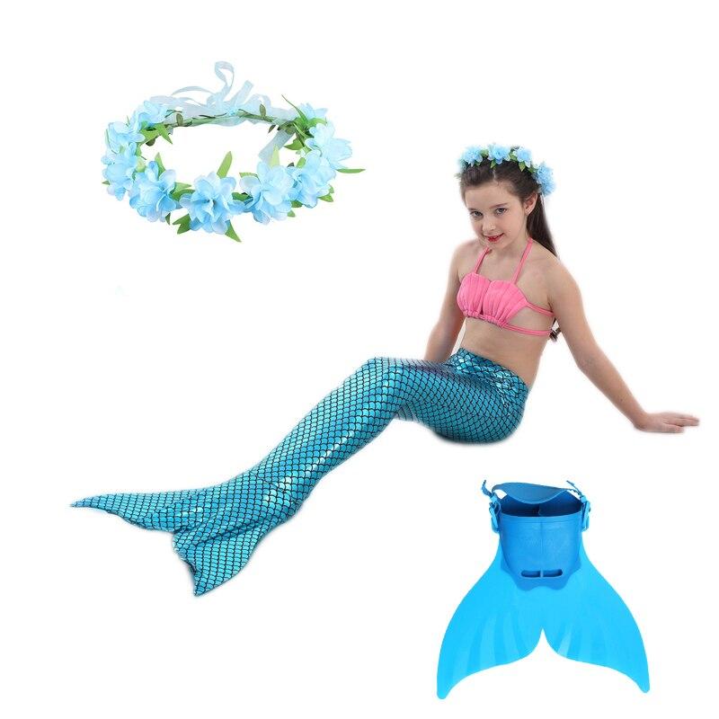 Children Costume Girls Mermaid Tail With Monofin Kids Costumes Mermaid Tails For Swimming  Mermaid Swimsuit Flipper For Children