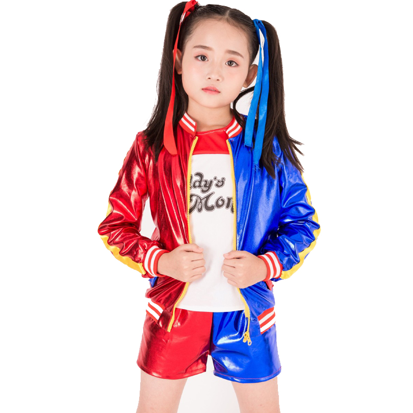 New Kids Harley Quinn Halloween Costumes Girls Clothing Suicide Squad Children Jacket Cosplay Suit 3 pcs Jacket+T shirt+Shorts