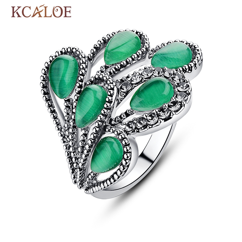 KCALOE Crystal Peacock Rings Women Jewelry Vintage Rhinestone Water Drop Silver Color Engagement Natural Green Opal Stone Ring