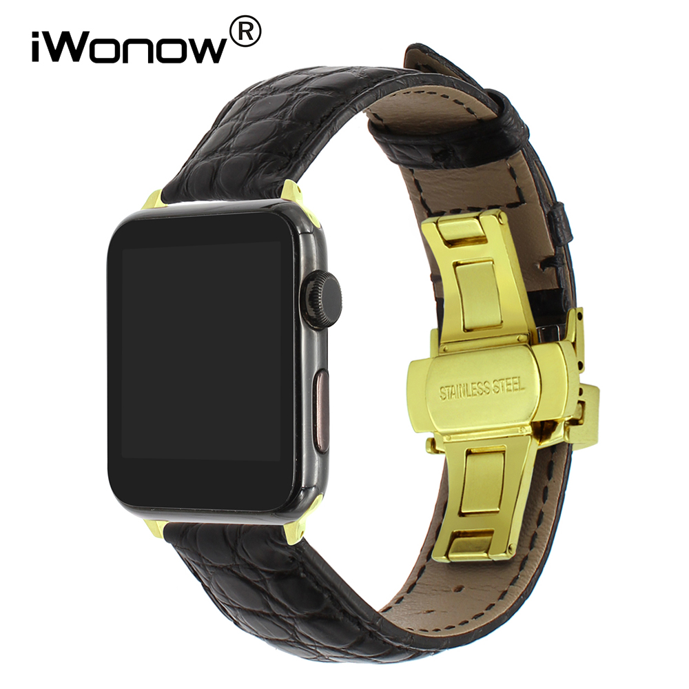 Genuine Alligator Leather Watchband for iWatch Apple Watch 38mm 42mm Croco Band Steel Butterfly Buckle Strap Wrist Belt Bracelet цена 2017