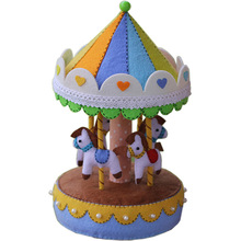 Needle Felt Pack DIY Carousel Music Box Handwork Birthday Gift For Kids Toy Sewing Felt Fabric