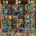 6 sheets/lot Minecraft stickers PVC water proof 3D stickers Creeper/steve/Enderman/Alex/Zombie Pigman/Iron Golem/Wither
