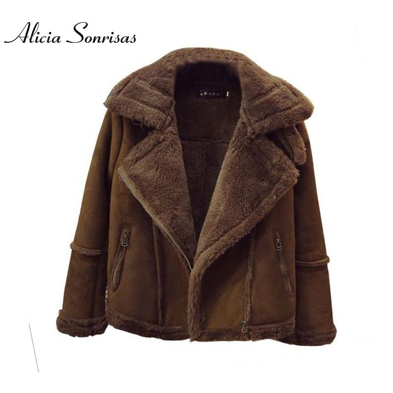 Winter Locomotive Lamb Fur Sheepskin Coat Women Short Plus Size 4XL 5XL 6XLThickening Slim Velvet Padded