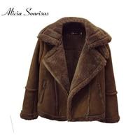 Winter Locomotive Lamb Fur Sheepskin Coat Women Short Plus Size 4XL 5XL 6XLThickening Slim Velvet Padded Cotton Coats