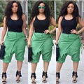2 Piece Bandage Jumpsuit Set 2016 Hot Summer Style Women Sleeveless Knee Length Rompers Lady Black Top +Green Harem Pant Outfits