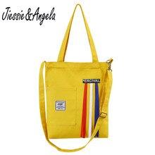 Jiessie & Angela women canvas large capacity laptop handbag fashion bag female shoulder 2018 cross body