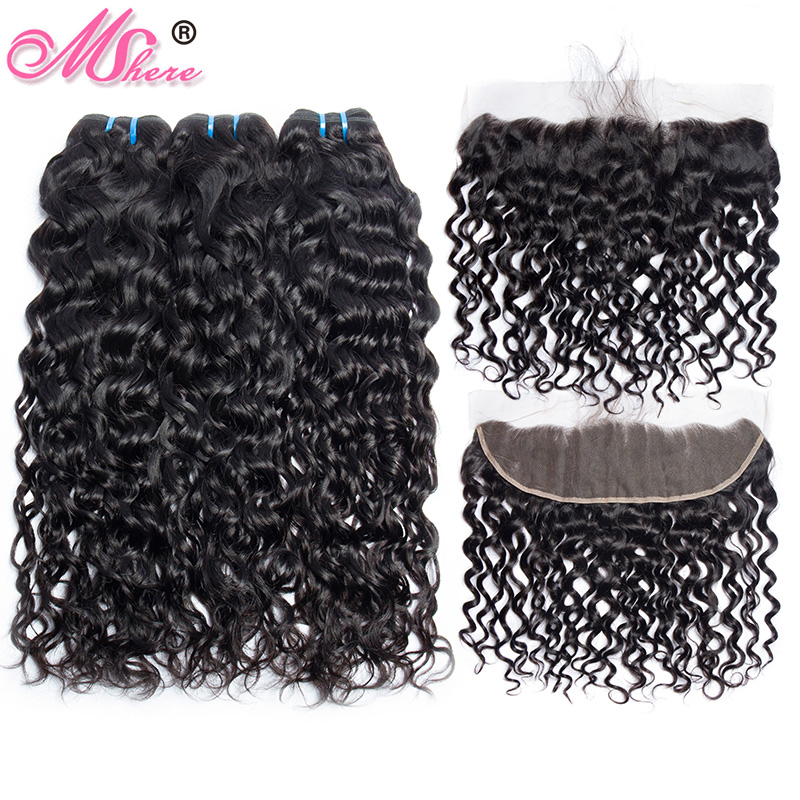 Brazilian Water Wave Human Hair Weave 3 Bundles With Lace Closure Frontal MShere Ear To Ear