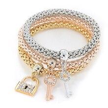 1set 3pcs fashion Crystal Elastic Rhinestones Key Lock Pendant Bracelet Jewelry