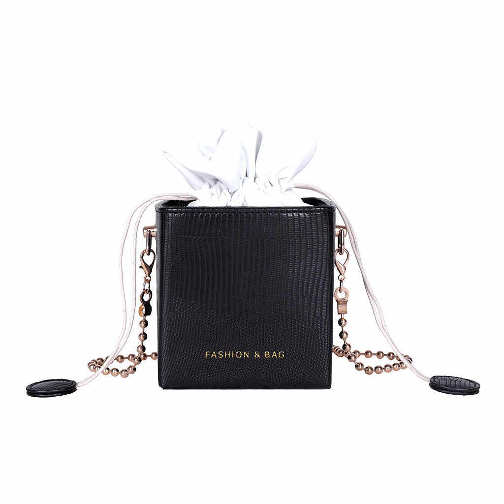 Маленькая сумка-мешок для женщин 2019, простая универсальная сумка-мессенджер с цепочкой на одно квадратное плечо, женская сумка