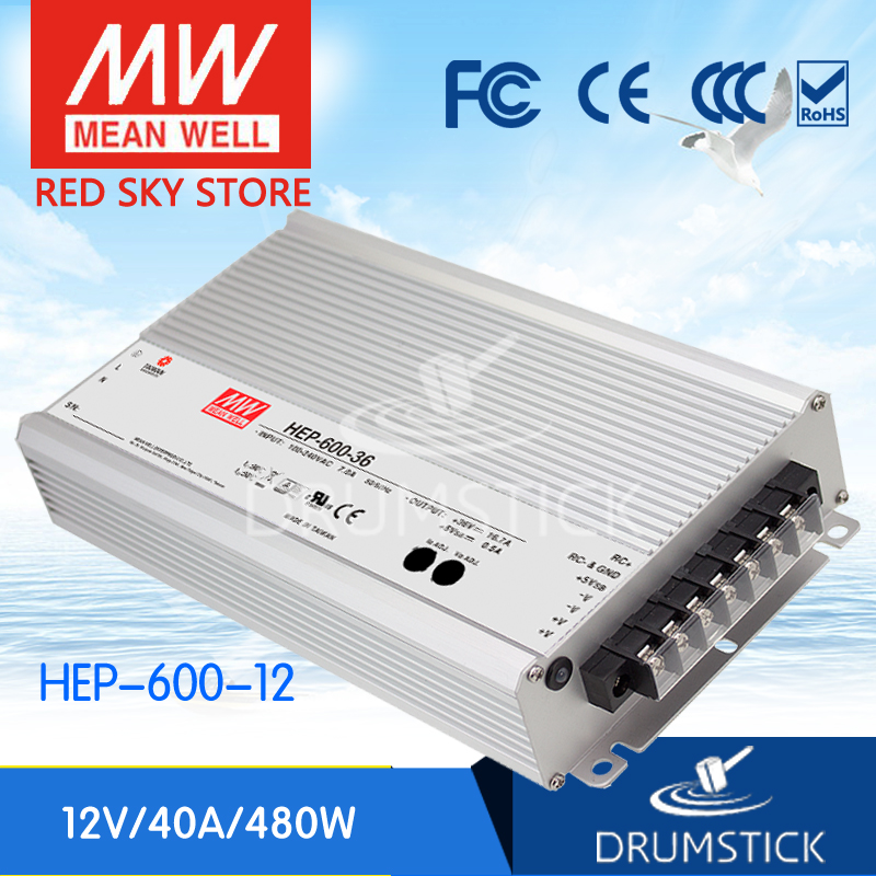 MEAN WELL HEP-600-12 12V 40A meanwell HEP-600 12V 480W Single Output Switching Power Supply 1mean well original hep 320 54a 54v 5 95a meanwell hep 320 54v 321 3w single output switching power supply