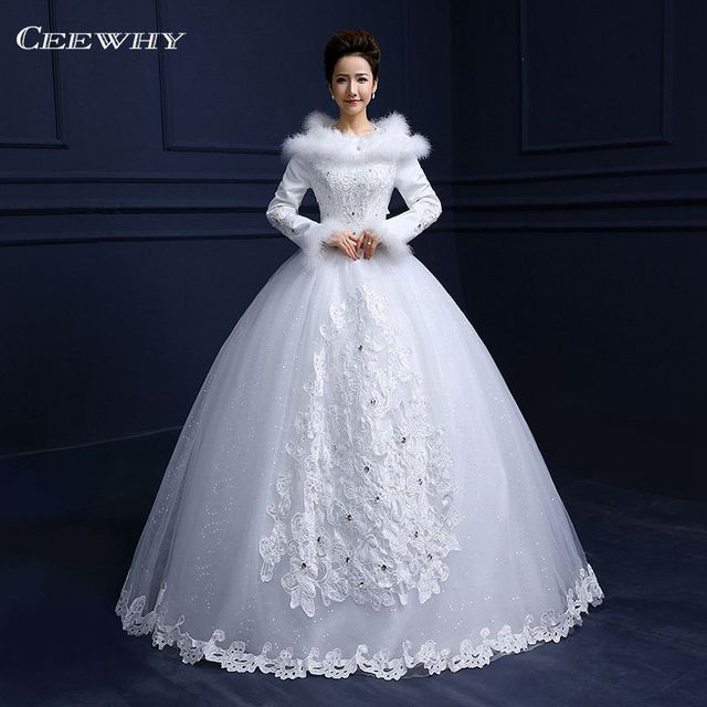 H Neck Full Sleeves Feathers Embroidery Satin Luxury Winter Wedding Dress 2017 Ball Gown Elegant