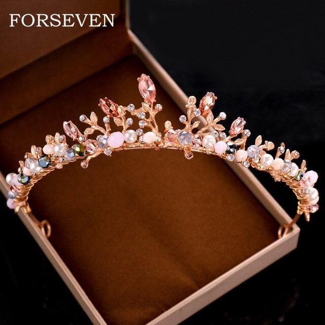 atractivo y duradero seleccione para el más nuevo lindo baratas € 5.84 30% de DESCUENTO|Cristal corona Tiara nupcial de oro rosa diadema de  diamantes de imitación perla corona Tiara boda diadema adornos pelo banda  ...