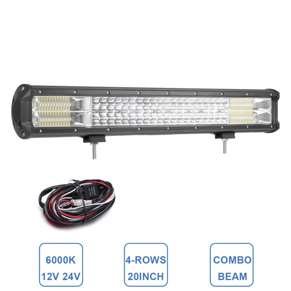 20 INCH LED WORK LIGHT BAR OFFROAD 12V 24V CAR TRUCK TRAILER WAGON PICKUP ATV UTE TRACTOR 4WD 4X4 SUV INDICATOR HEADLIGHT 384W offroad 13 16 21 24 29 32 inch led work light bar 12v 24v car truck trailer pickup tractor wagon combo 4x4 4wd atv driving lamp