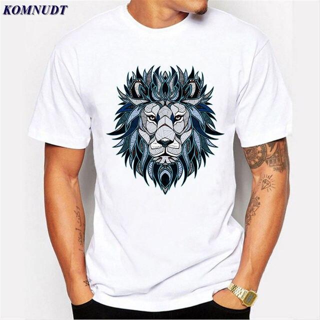 2018 diseño creativo de dibujos animados León 3D impresión hombres moda hip  hop blanco casual camiseta 45fb9774461