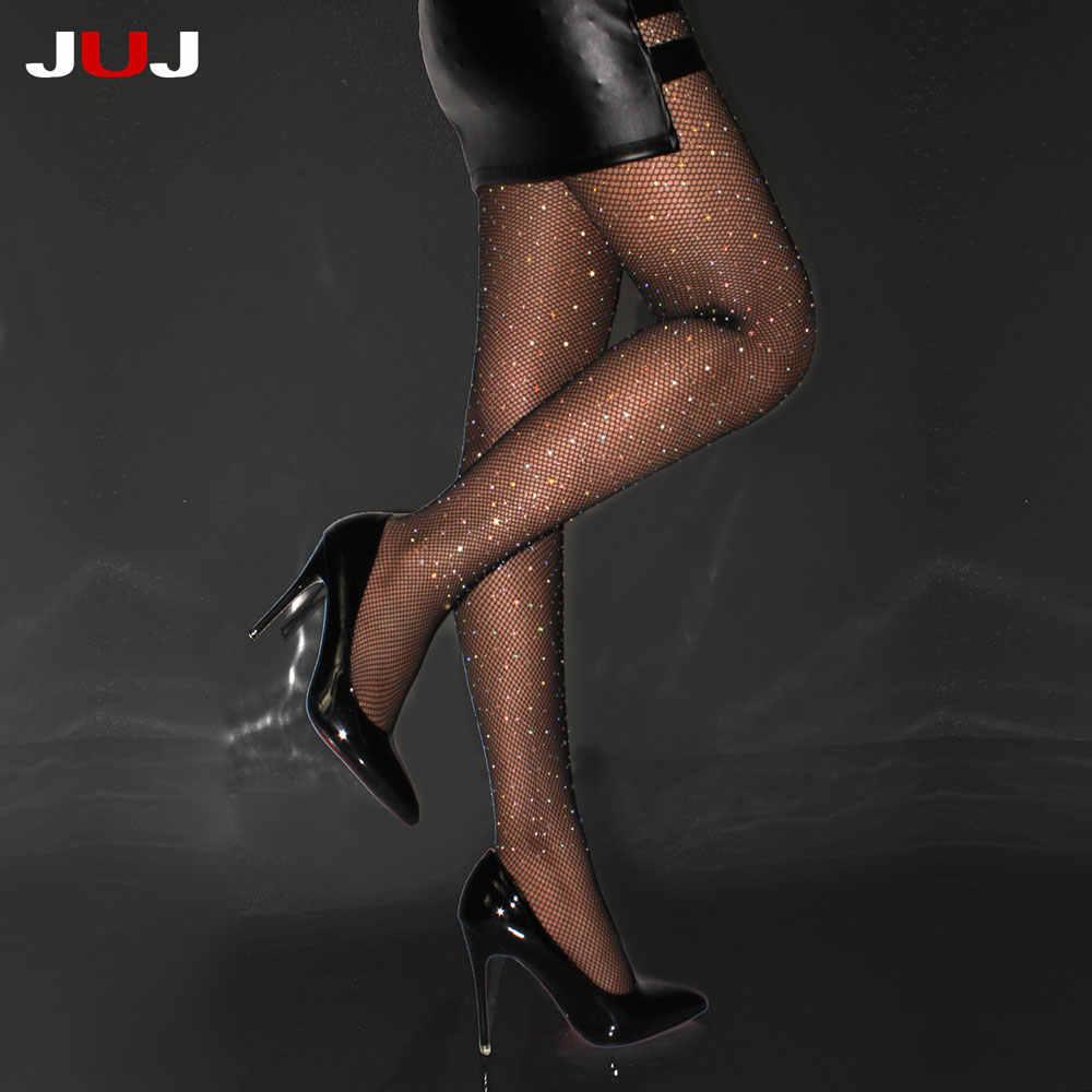 2019 Sexy của Phụ Nữ Kim Cương Fishnet Vớ Lưới Pantyhose Nhiều Màu Rhinestone Nylons Sáng Bóng Pantyhose Collant Hàng Dệt Kim Cá Net