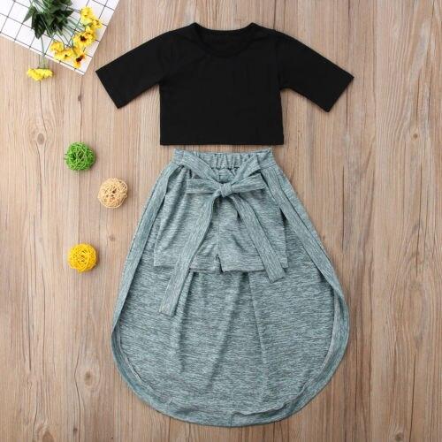 3f5afa042aadd Summer Short Sleeve Crop Tops Shorts Girls Clothing Children Cotton Cute  Outfits 2PCs Toddler Kids Baby