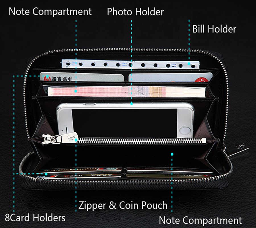 Nuevo bolso de mano de cuero genuino con billetera larga para hombre de marca de lujo para hombre con cremallera pl119