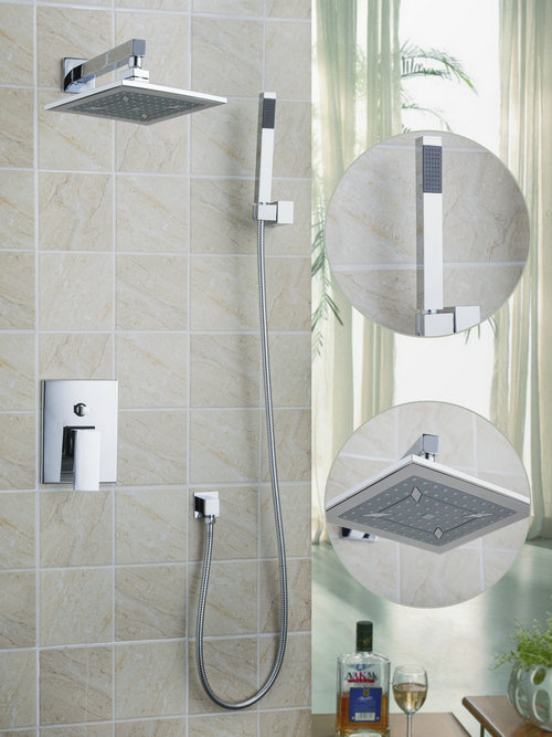 Wall Mounted Shower Set Torneira Square 10 Shower Head Bathroom Rainfall 50212-43SA Bathtub Chrome Sink Faucets,Mixers & Taps unique design round 8 abs rainfall shower head bathroom 50239 22a shower set torneira bathtub chrome sink faucets mixer taps