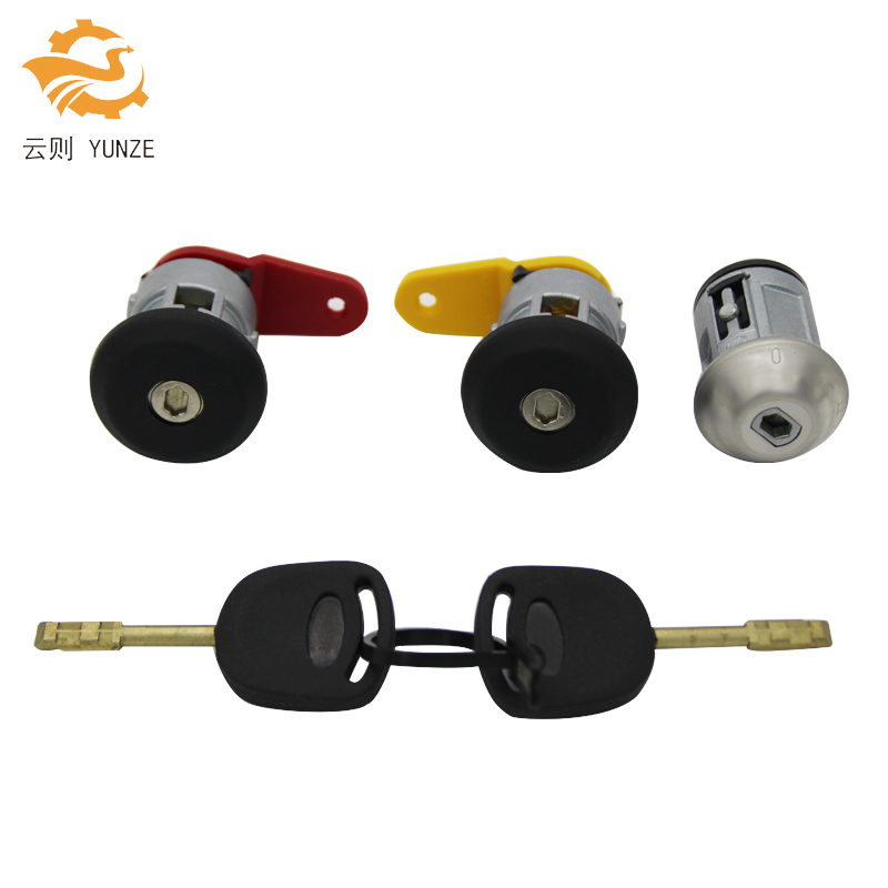 AL-052 مفتاح إشعال اليسار الأيمن قفل الباب اسطوانة مع 2 مفاتيح جودة OEM لفورد فييستا مرافقة كا سيارة